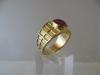 Ring: goud robijn - 1