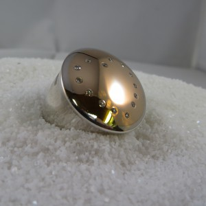 Ring Zilver Goud Diamantjes