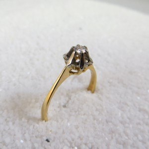 Ring Goud Chaton Diamant