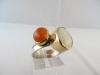 Ring: zilver goud melkopaal carneool - 5