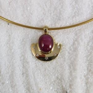 Hanger Goud Robijn Diamant